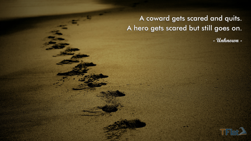 A coward gets scared and quits. A hero gets scared but still goes on.